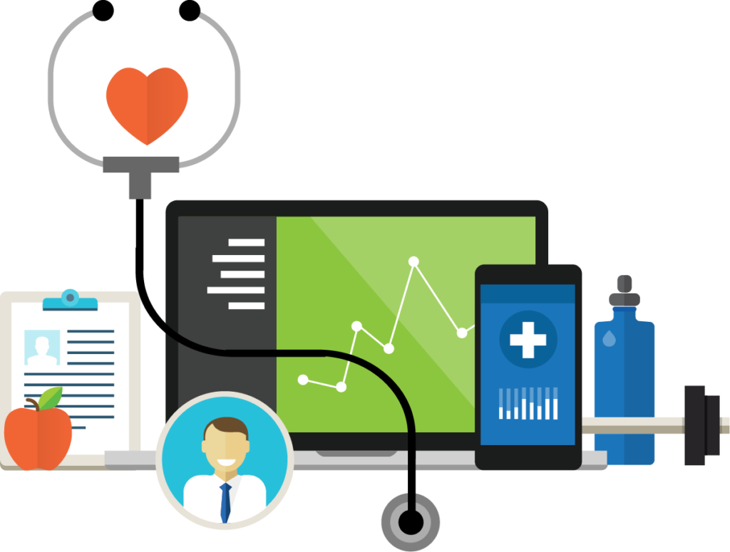 Stethoscope with a heart, doctor, laptop, and smartphone