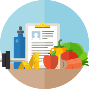 Clipboard with someone's medical file surrounded by a bottle of water, dumbbell, tape measurer and fruits and veggies.