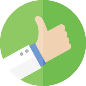 Hand with a thumb up on a green background